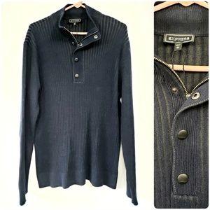 Express Men's Navy Half Zip Pullover Sweater Large